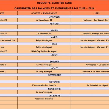 Calendrier des balades et événements du Club – 2016